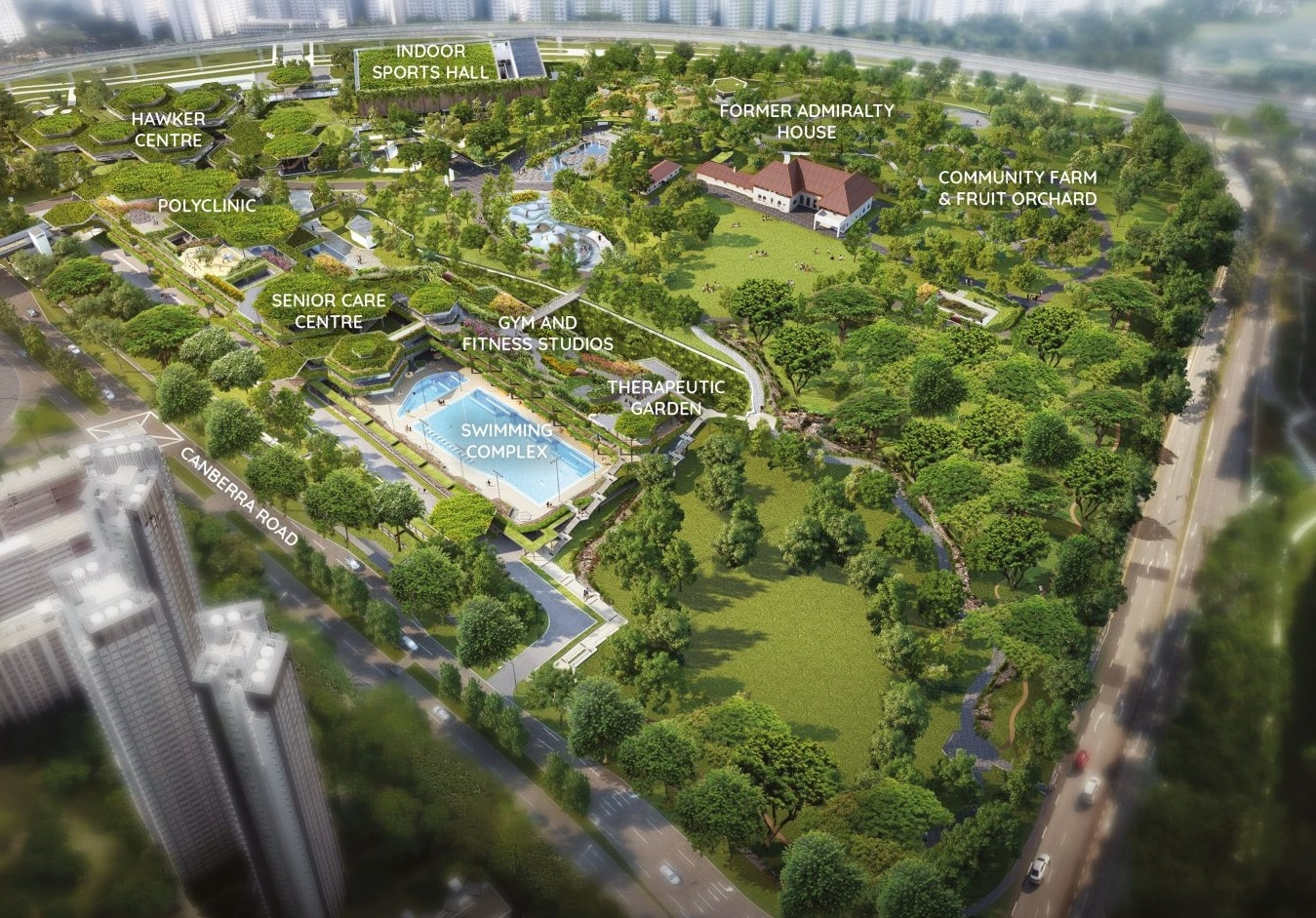 Bukit Canberra and its facilities, seen from the direction of the Nov 2020 Sembawang BTO